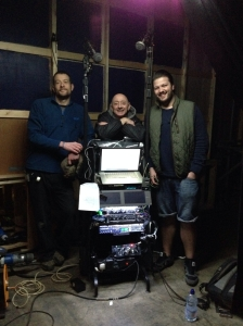 The 2014 Stella location sound team l-r Daf Parry - Boom Op, Ray T Parker - sound mixer, Chris Hughes - Sound assistant