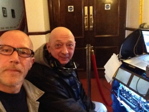 A Selfie of two sound men with a very similar haircut (and no make up). Stella dubbing mixer Simon H Jones and recordist Ray Taylor-Parker on location in South Wales March 2014.
